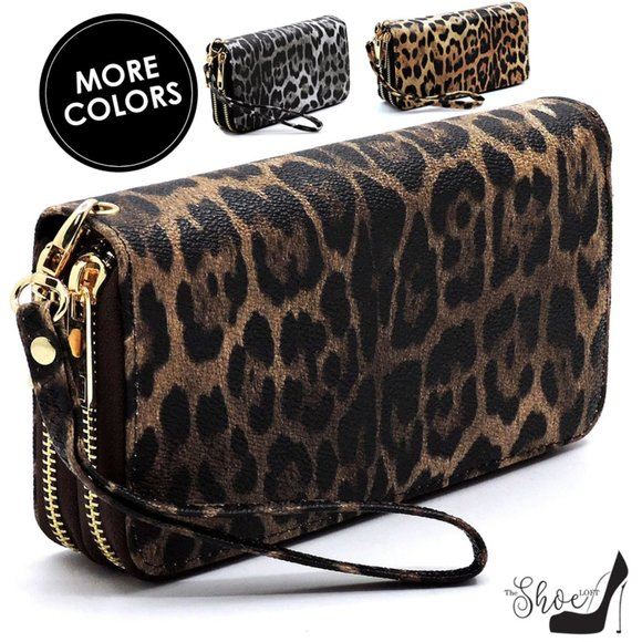My Bag Lady Online Handbags - Leopard Double Zip Wallet Wristlet
